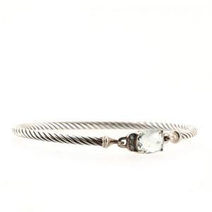 David Yurman Petite Wheaton Bracelet Sterling Silver with Prasiolite and Diamonds 3mm