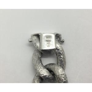 14k White Gold Hammered Texture Hollow Curb Link Bracelet