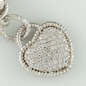 Judith Ripka 925 Sterling Silver with Cubic Zirconia Byzantine Bracelet