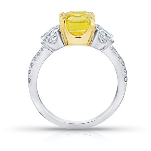Platinum 18K Yellow Gold 3.15ct. Sapphire 1.15ctw. Diamond Ring Size 7