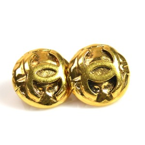 Chanel Metal Gold Coco Mark Earrings