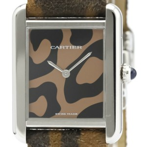 Polished CARTIER Tank Solo Panthere Steel Quartz Unisex Watch W5200016