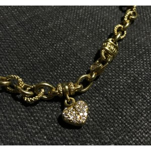 Judith Ripka Romance 18K Yellow Gold 0.23ct Diamond Heart Chain Necklace