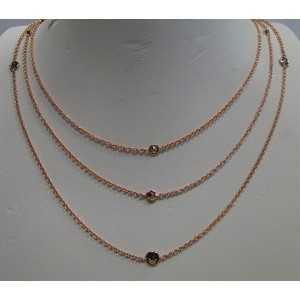 18K Rose Gold 1.34 Ct Brown Diamond by the Yard Long Chain Necklace