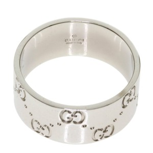 GUCCI 18K White Gold Icon wide Ring