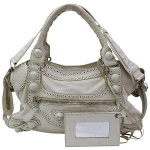 Balenciaga 867253 Oxford The City 2way Off-white Leather Shoulder Bag
