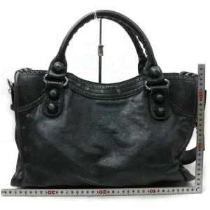 Balenciaga 872181 Charcoal The City 2way Gray Leather Satchel