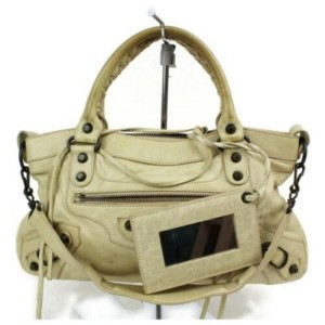 Balenciaga Beige First City 2way with Strap 872905 Cream Leather Shoulder Bag