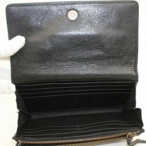 Balenciaga Black Long Classic Arena Moto Leather 871150 Wallet