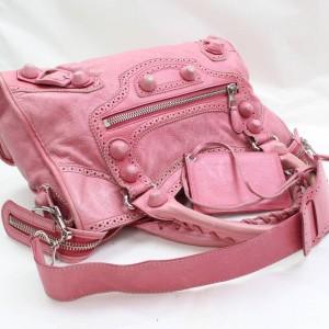 Balenciaga Brogues Giant City 2way 868718 Pink Leather Shoulder Bag