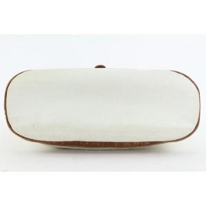 Balenciaga Embossed White x Brown Hobo Bucket Drawstring Bag 36bal115