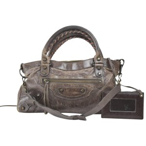 Balenciaga First 2way 867981 Brown Leather Shoulder Bag