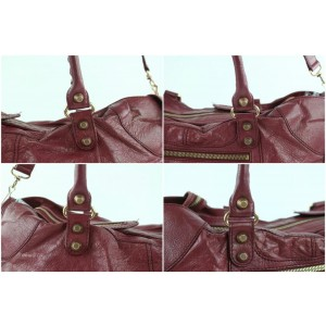 Balenciaga Giant The Part Time City 2way 14balz0914 Dark Pink Leather Weekend/Travel Bag