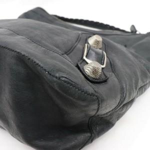 Balenciaga Hobo 872005 Giant Day Black Leather Shoulder Bag