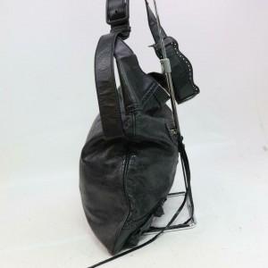 Balenciaga Hobo Arena 870690 Black Leather Messenger Bag