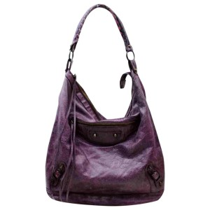 Balenciaga Hobo Day 860054 Purple Leather Shoulder Bag