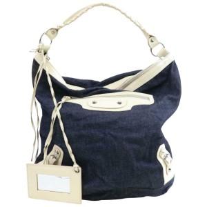 Balenciaga Hobo The Day 871252 Navy Blue Denim Shoulder Bag