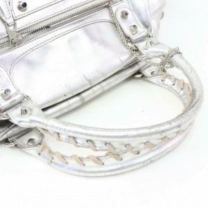 Balenciaga Metallic Bowler 870315 Silver Leather Satchel