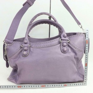 Balenciaga Oxford Lilac Lavdendar City 2way 871015 Purple Leather Shoulder Bag