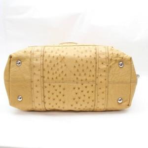 Balenciaga Pompon 867463 Beige Ostrich Leather Tote