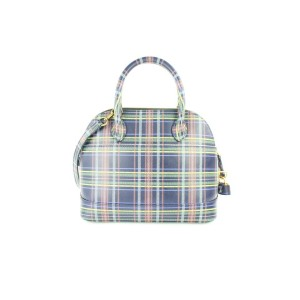 Balenciaga Small Ville Plaid Bowling Dome 2way 2mz0116 Blue Leather Cross Body Bag