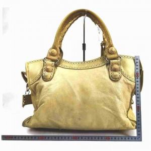 Balenciaga The Giant City 2way 860096 Beige Leather Shoulder Bag