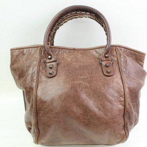 Balenciaga The Sunday 866440 Brown Leather Tote