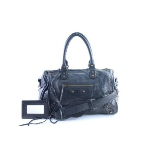 Balenciaga Twiggy 2way 24balr0605 Black Leather Weekend/Travel Bag