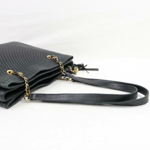 Bally Quilted Chain Tote 870114 Black Leather Shoulder Bag