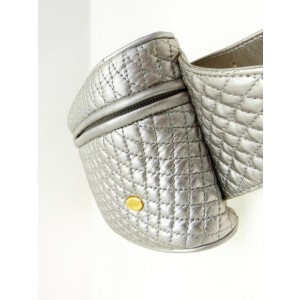 Bally Quilted Waist Pouch Fanny Pack 230672 Silver Leather Cross Body Bag