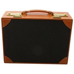 Bally Black x Brown Mini Trunk Hard Case Steamer Attache 860720