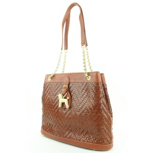 Barry Kieselstein-Cord Brown Woven Leather Dog Charm Trophy Chain Tote Bag 19bkc113