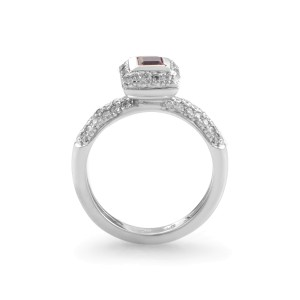 Barry Kronen 18K White Gold Pink Sapphire and Diamond Ring