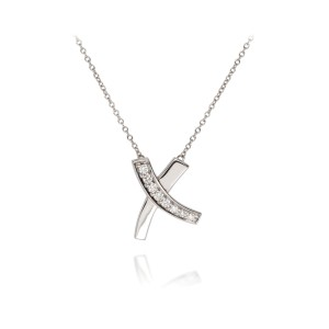 "Tiffany & Co. Paloma Picasso 18K White Gold and 0.25ctw Diamonds ""X"" Necklace"