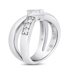 14k White Gold 0.50ct. Diamond Crossover X Ring Princess Cut Size 7