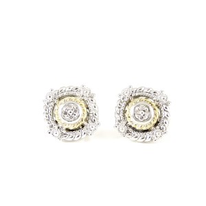 Judith Ripka Sterling Silver & 18K Yellow Gold Garland Diamond Stud Earrings