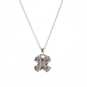 Tiffany & Co. Signature X Pendant Necklace 18K White Gold with Diamonds