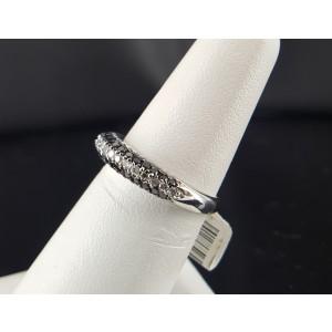 18K White Gold with Black and White Diamonds Zodiac Band Ring Size 6.5