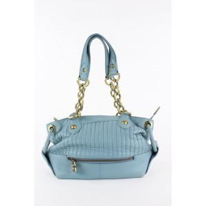 BCBGMAXAZRIA Quilted Blue Leather Chain Shoulder Bag 13bcb1229