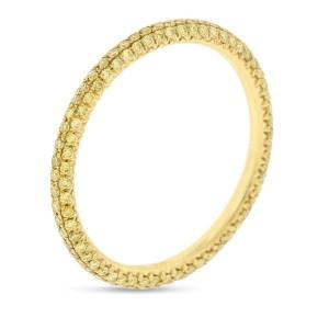 18k Yellow Gold 0.90ct. Irradiated Yellow Micro Pave Diamonds Eternity Band Size 6
