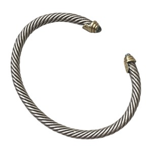David Yurman Sterling Silver and 18K Yellow Gold & Aquamarine Cable Bracelet