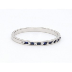 18K White Gold with 0.11ct. Diamond and 0.13ct. Sapphire Band Ring Size 5.75