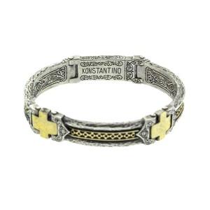 Konstantino Sterling Silver and 18k Yellow Gold Mens Cross Bracelet