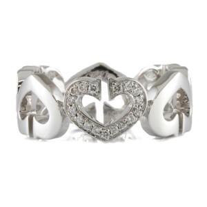 CARTIER 18K white gold Diamond C Heart Ring