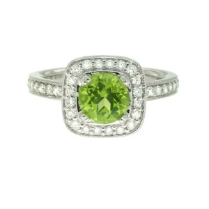 Ritani 18k White Gold Peridot .44ctw Diamond Ring Size 6.5