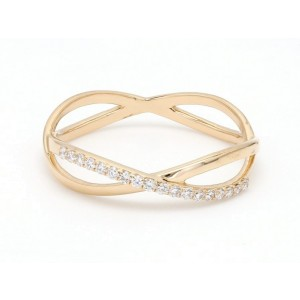 18K Yellow Gold with 0.12ct. Diamond Twisted Band Ring Size 6.75