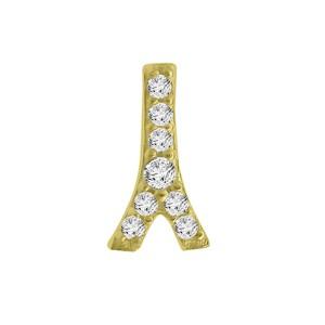 14k Yellow Gold Diamond Eiffel Tower Single Earring