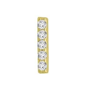 14k Yellow Gold Diamond Bar Single Earring