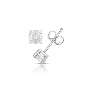 14K White Gold 0.50ctw. Diamond Earring Studs