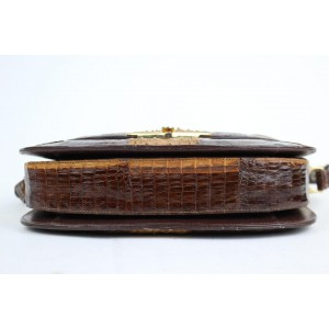 Custom Made Bicolor Flap 11mt915 Chocolate Crocodile Skin Leather Cross Body Bag